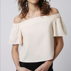 Topshop Off the Should Crop Top - White